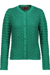 Missoni Metallic Crochet Knit Cardigan Green