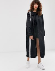 Adidas Originals Tlrd Three Stripe Duster Coat In Black