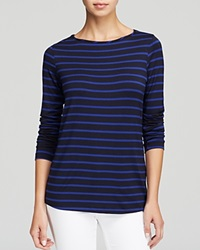 Moon And Meadow Striped Boat Neck Tee Navy Cobalt Stripe