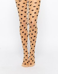 Leg Avenue Woven Card Suit Tights Beige Black