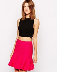 Asos Crop Top In Textured Fabric With Cross Front Black