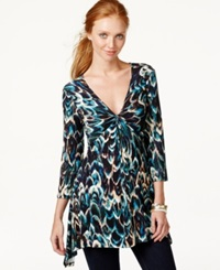 Cable And Gauge Handkerchief Hem Tunic Teal Feather