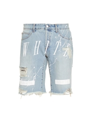 Off White New White Paint Splatter Print Denim Shorts