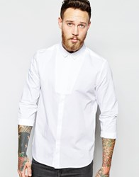 Asos Tux Shirt With Contrast Texture Mini Bib And Long Sleeves White