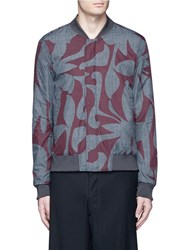 Wooyoungmi Reversible Floral Print Bomber Jacket Grey Multi Colour
