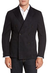 Flynt Men's Big And Tall Classic Fit Jersey Double Breasted Sport Coat Black