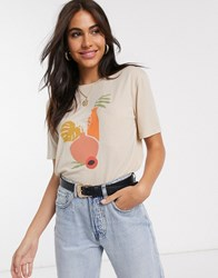 Neon Rose Relaxed T Shirt With Abstract Vase Graphic Beige