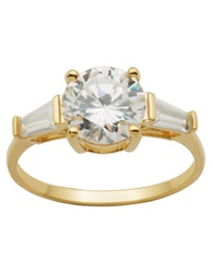 Lord And Taylor 18Kt Gold Over Sterling Silver And Cubic Zirconia Three Stone Ring White