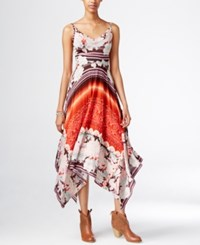 American Rag Printed Handkerchief Hem Maxi Dress Twilight Sun