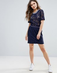 B.Young Lace Skirt With Contrast Waistband Blue Indigo