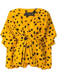 Romance Was Born Cheetah Minx Blouse Yellow
