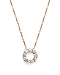 Bloomingdale's Diamond Open Circle Pendant Necklace In 14K Rose Gold .65 Ct. T.W. 100 Exclusive White Rose