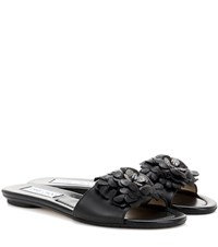 Jimmy Choo Neave Leather Slip On Sandals Black