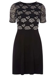 Dorothy Perkins Black Lace Ruched Sleeve Fit And Flare Dress