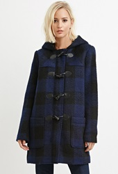 Forever 21 Toggle Front Plaid Coat Navy Black