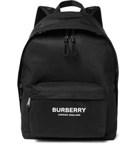 Burberry Logo Print Leather Trimmed Nylon Backpack Black