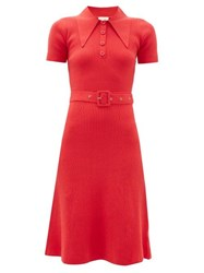 Joostricot Peachskin Point Collar Ribbed Cotton Blend Dress Red