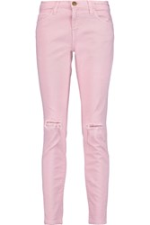 Current Elliott The Stiletto Distressed Mid Rise Skinny Jeans Pink