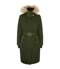 Burberry Hunnbridge Fur Trim Parka Coat Female Green