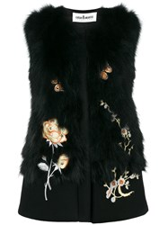 Caban Romantic Floral Embroidered Gilet Black