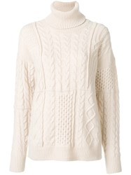 Roberto Collina Cable Knit Roll Neck Jumper Wool M Nude Neutrals