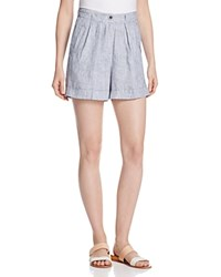 Andrea Jovine Striped Linen Cuff Shorts Compare At 58 Navy White