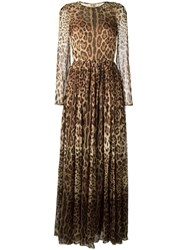 Dolce And Gabbana Leopard Print Long Dress Brown