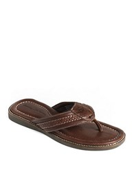 Tommy Bahama Anchors Away Leather Thong Sandals Dk Brown