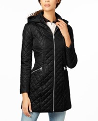 Via Spiga Hooded Quilted Coat Black