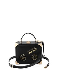 Aspinal Of London Mini Trunk With Patches Black