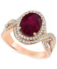 Effy Collection Rosa By Effy Ruby 2 7 8 Ct. T.W. And Diamond 1 2 Ct. T.W. Oval Ring In 14K Rose Gold