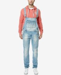 Buffalo David Bitton Men's Elliot X Slim Fit Stretch Overalls Authentic Light Blue