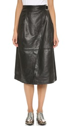 Whistles Wrap Leather Midi Skirt Black