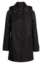 London Fog Removable Hood Rain Coat Black