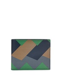 Greca Colorblock Leather Bifold Wallet Green Navy Taupe Salvatore Ferragamo