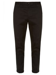 Dolce And Gabbana Contrast Piping Chino Trousers Black