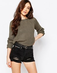 Pull And Bear Pullandbear Crop Knitted Jumper Green