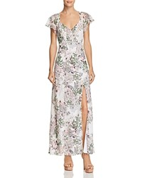 Guess Loyola Floral Print Maxi Dress Inked Garden Brilliant White