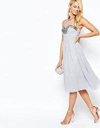 Little Mistress Prom Dress In Chiffon With Embellished Bust Grey