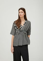 Zucca Cupro Gingham Check Top Black
