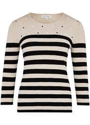 Austin Reed Embroidered Spot Stripe Jumper Brown
