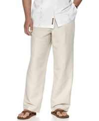 Cubavera Big And Tall Pants Drawstring Linen Blend 30' Length Pants Natural Linen