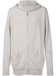 The Elder Statesman Cashmere Zipped Hoodie Nude Neutrals