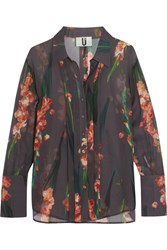 Topshop Unique Selwyn Floral Print Silk Georgette Shirt Charcoal Red