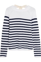Joseph Bow Detailed Striped Cashmere Sweater White