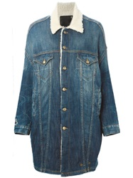 R 13 R13 Shearling Lined Denim Coat Blue