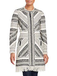 Rebecca Taylor Artisan Textured Cotton Blend Coat Black White
