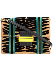 Etro Panelled Woven Shoulder Bag Neutrals