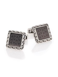 John Hardy Classic Chain Enamel And Sterling Silver Cuff Links Silver Grey
