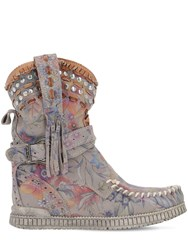 El Vaquero 70Mm Yara Flower Printed Suede Boots Multicolor